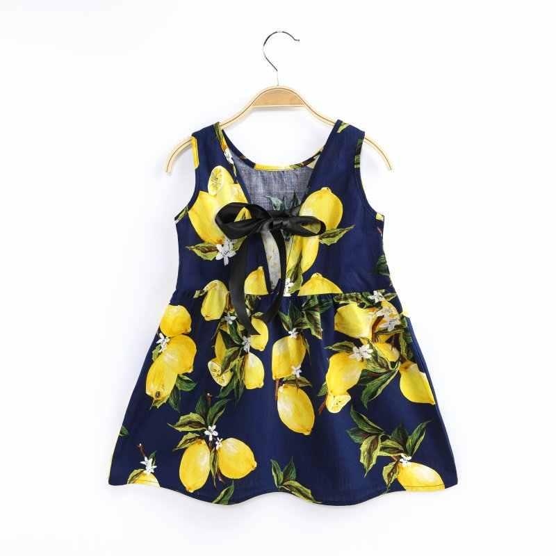 Детское платье с принтом фруктов для девочек; хлопковое платье с рукавами для подростков; летняя одежда; vestidos