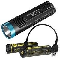 Nitecore ec4gt Синий Limited Edition удобный Портативный 1000lm излучатель фонарик + 2x Micro USB Перезаряжаемые Батарея + зарядный кабель