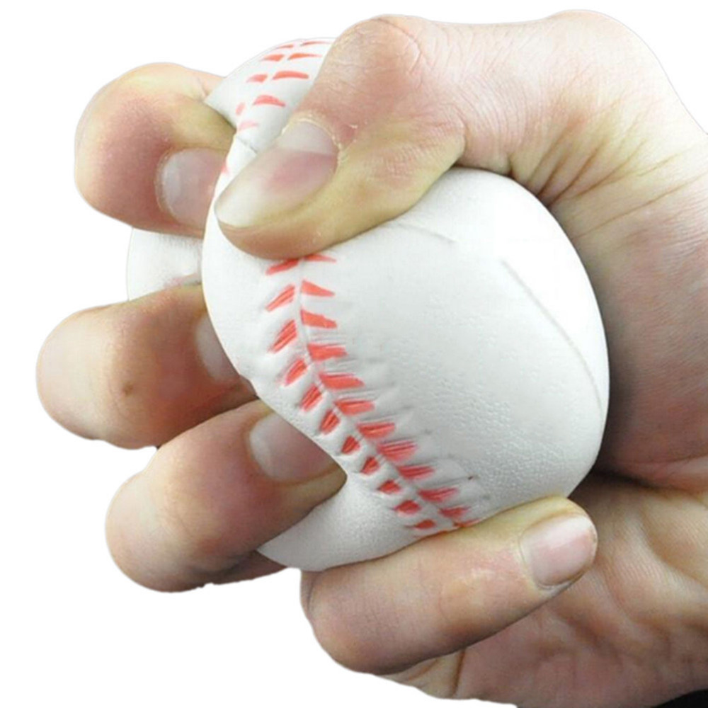White Foam Ball Massage Soft Baseball Shaped  Hand Wrist Exercise Stress Relief Relaxation Squeeze