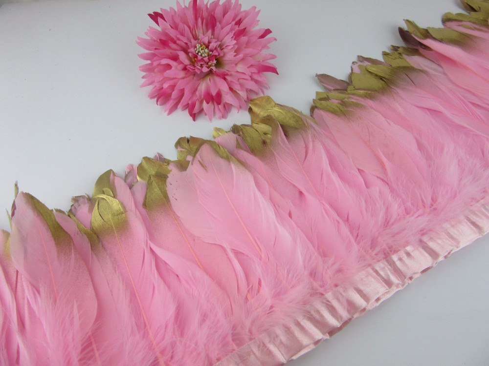 New Fashion Gold Tips Goose feather trims 2-10yards Pink Dyed geese feather ribbons /15-20cm Duck feather fringes Free shipping