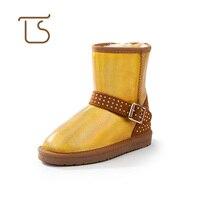 Big Sale 5825 Genuine Leather Big Girls Snow Boots Kids Winter Rivet Female Children S Warm