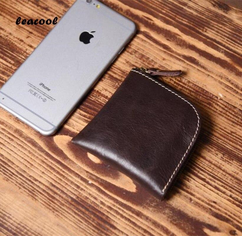 Leacool Пояса из натуральной кожи Для мужчин кошелек супер тонкий кожаный ручной пользовательское имя тонкий кошелек Для мужчин короткие небо...
