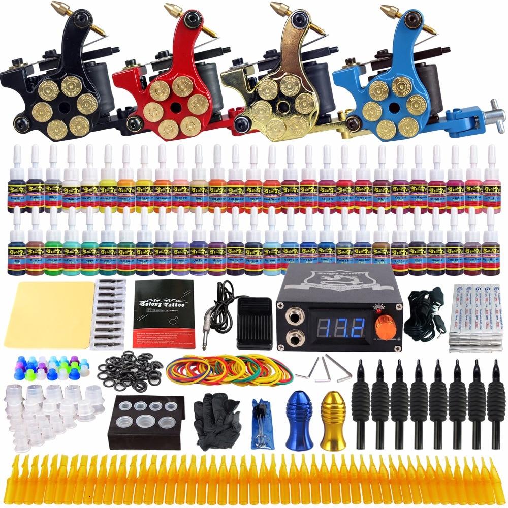 все цены на Solong Tattoo Complete Tattoo Kit 4 Pro Coil Machine Guns Set 54 Inks 5ml Power Supply Needle Grips Tips TK458 онлайн