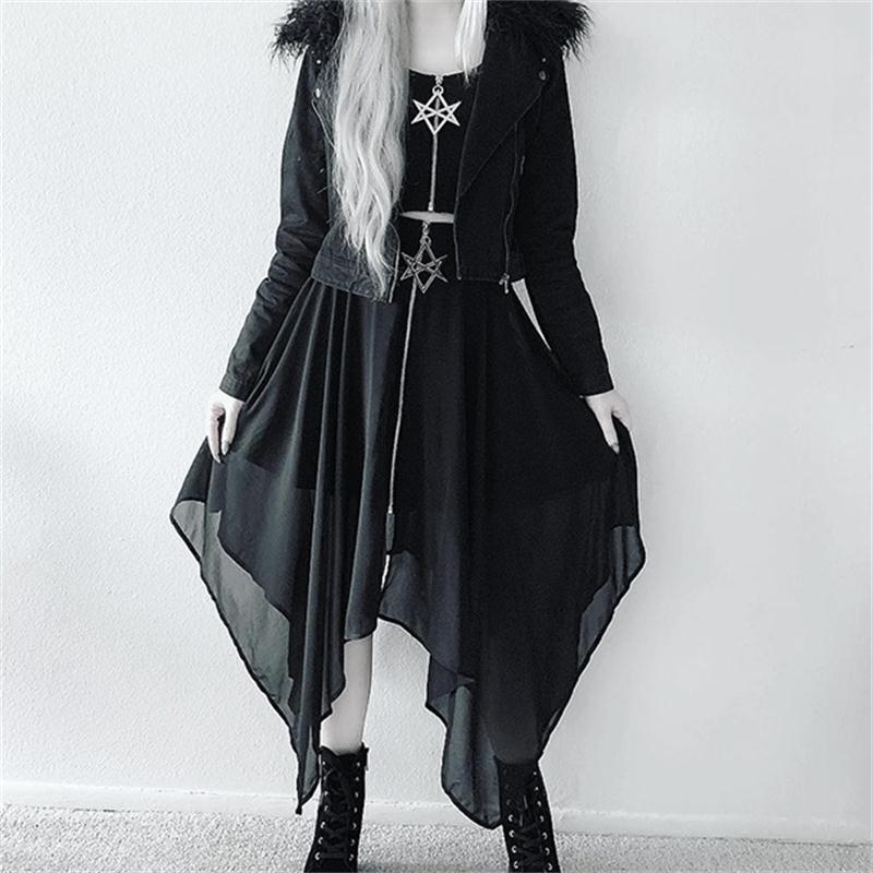Gothic Star 2 Piece Set Women Sexy Crop Tops Mesh Irregular Thin Skirts Bodycon PU Package Hip Skirts Casual Black Two Piece Set