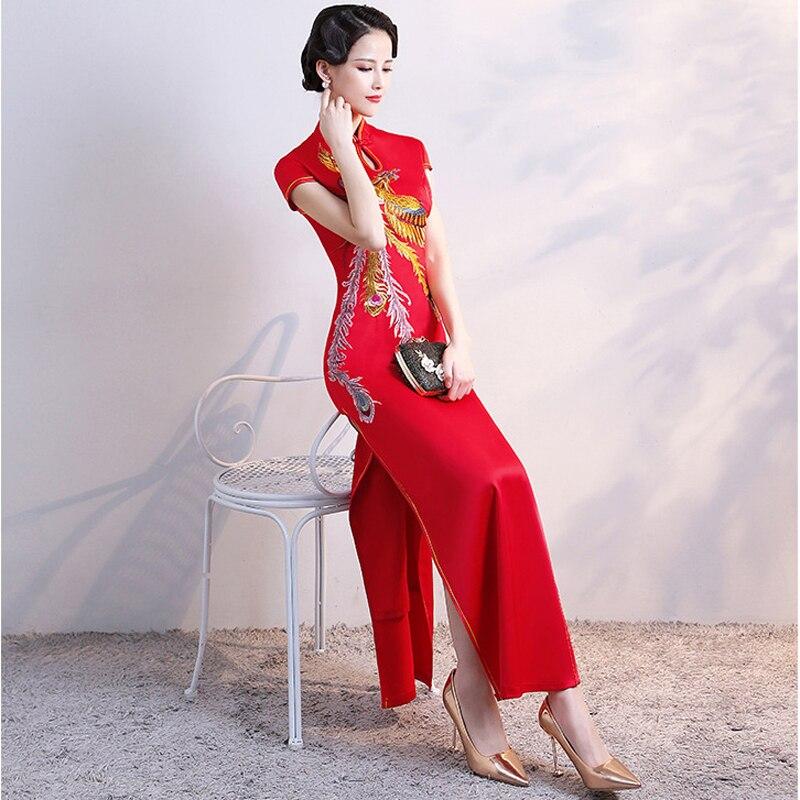 Vintage Style chinois Cheongsam rouge robe de mariée femmes formelle longue robe Qipao fête soirée robe rétro vêtements Vestido