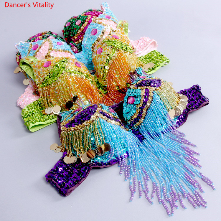 Sexy Women Beaded Sequins Embellished Chrysanthemum Bra A-D Cup Belly Dance Underwear Push Up Special Care