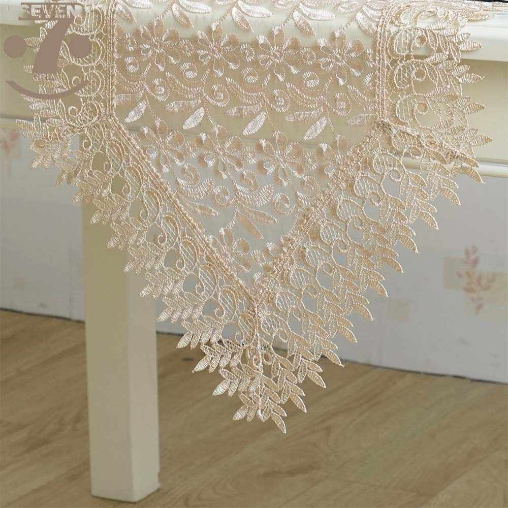 Free Shipping Home Decorative Dining Banquet White Coffee Colour Table Decorative Embroidered Lace Table Runner