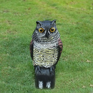 Image 1 - Whispering นกฮูกนกฮูกสีเทา Garden Yard Decor Decoy หัวหมุนควบคุมศัตรูพืชวัชพืช Crow หุ่นไล่กา Protection Repellent Bird Pest