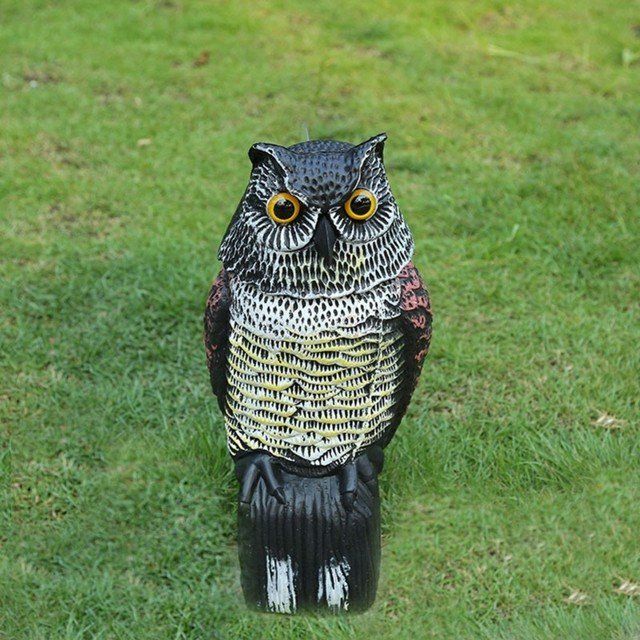 Whispering นกฮูกนกฮูกสีเทา Garden Yard Decor Decoy หัวหมุนควบคุมศัตรูพืชวัชพืช Crow หุ่นไล่กา Protection Repellent Bird Pest