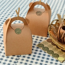 10*10*14.5cm 10 Pcs Cake Food kraft Paper Box With Handle Boxes Christmas birthday Party candy Gifts Packaging Storage Boxes