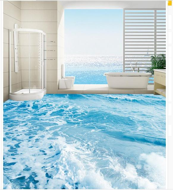3d Floor Wallpapers Seawater Spray Bathroom Floor Waterproof Floor Mural  Painting Self Adhesive 3D Floor