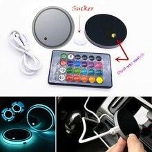 2 Pcs RGB LED Remote USB Car Interior Cup Holder Bottom Pad