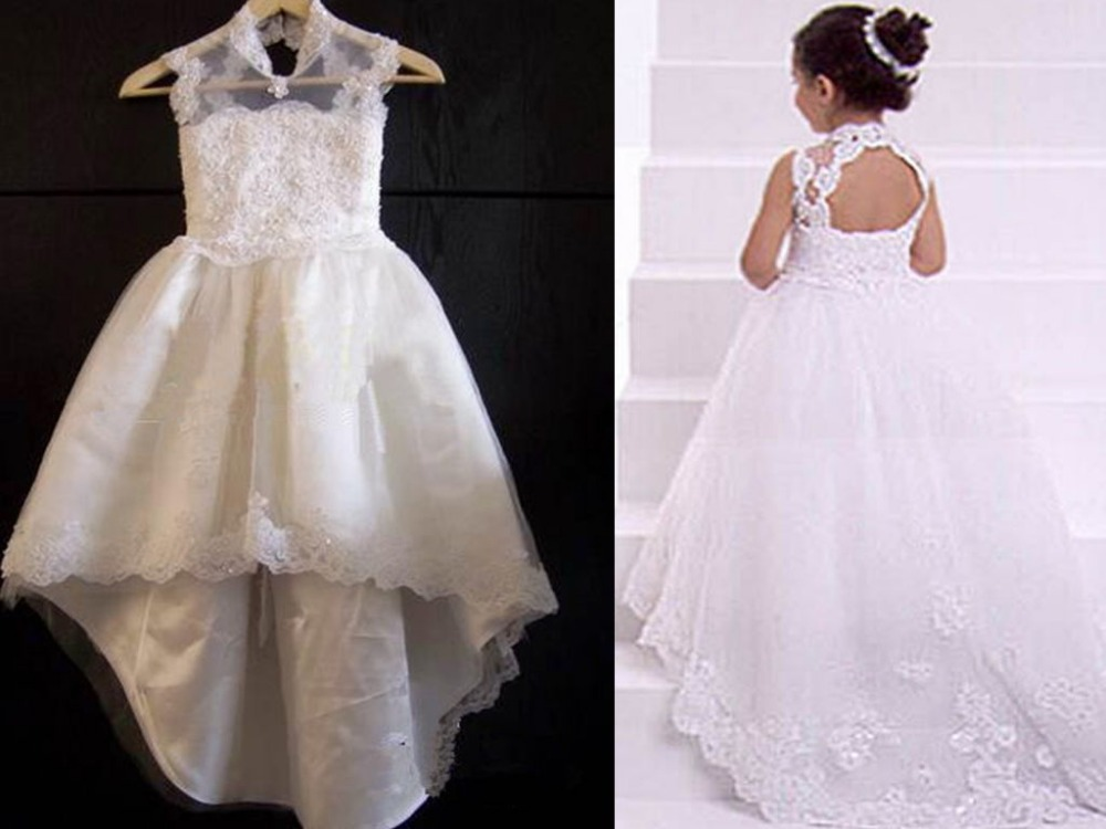 2015 Hot New High Neck Lace Kids   Flower     Girl     Dresses   Appliques Children Baby   Girls   Pageant Gown Vestido De Daminha QA571
