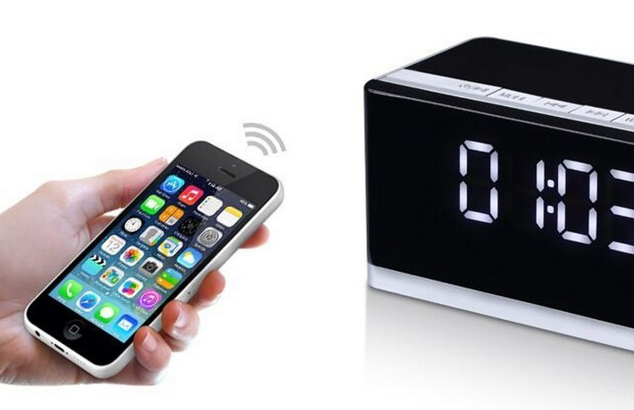ФОТО metal 10w 2.1 ch bluetooth speaker with 3d stereo with fm clock alarm line in function support usb/micro sd