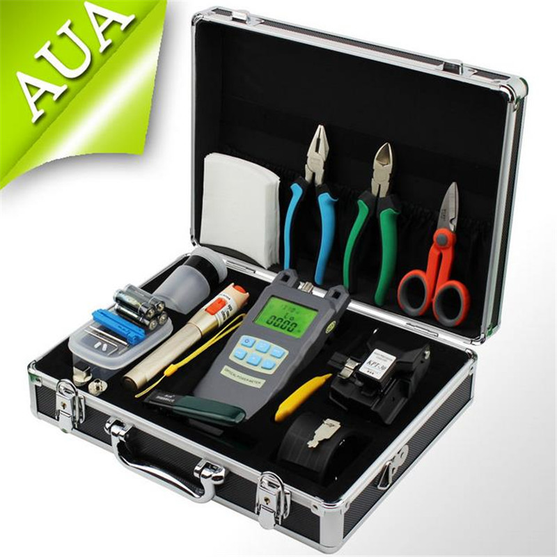 Fiber Optic FTTH Tool Kit with AUA-30S Fiber Cleaver and Optical Power Meter 10Mw metal Visual Fault Locator + Kevlar Scissors