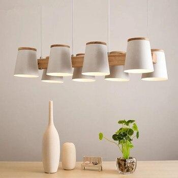Suspension réglable E27 lampe à manger en bois avec abat-jour en métal Lustres lampe suspendue moderne Suspension éclairage