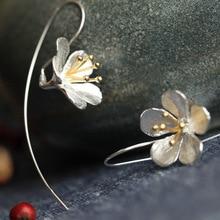 Fashion 925 Sterling Silver Long Flower Earrings Tassel Earrings Jewelry Sterling-Silver-Jewelry Pendientes Mujer Moda orecchini