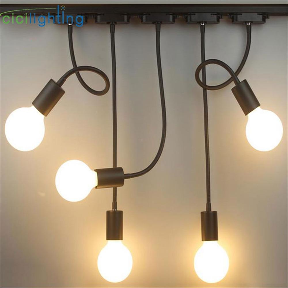 L40cm manguera cuello E27 luz de la pista de cuello de cisne carril montado en el techo de iluminación de pista industrial tienda de ropa ajustada lámpara de ferrocarril manchas