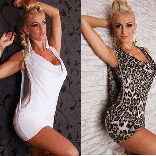 Hot Sale Sexy White Mini Dress Rhinestone Wet Look Club Dress 3S2163 Sexy Dresses Clubwear image