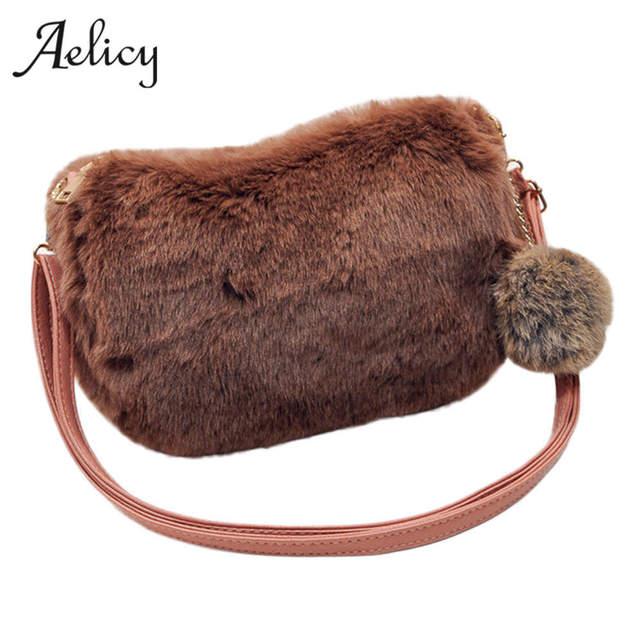 Aelicy Женская Симпатичная плюшевая меховая плюшевая сумка через плечо сумка-мессенджер сумка-клатч вечерняя сумка для вечерние