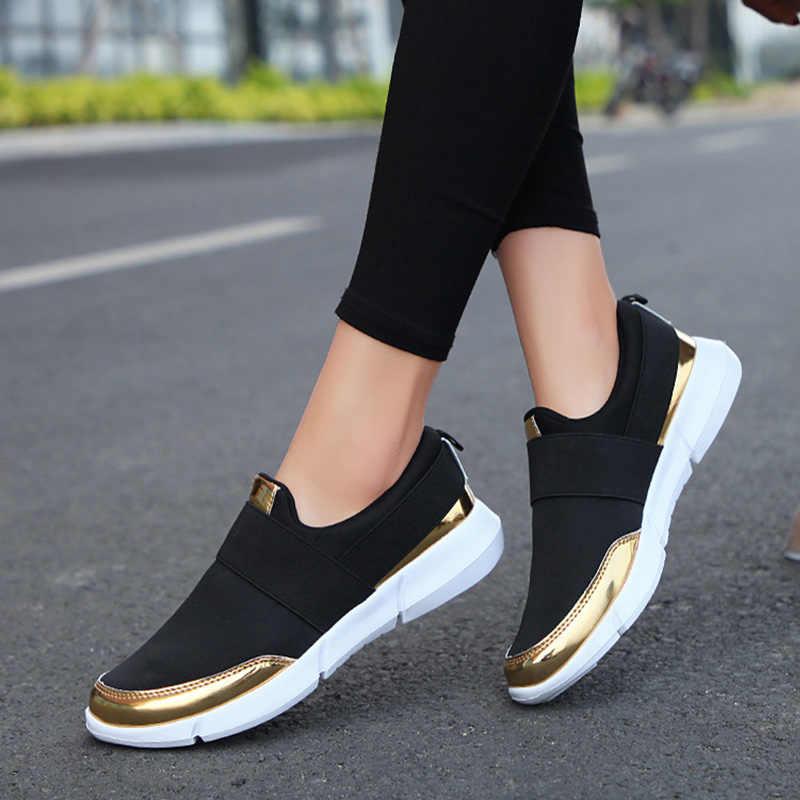 Bahar kadın loafer'lar üzerinde kayma bayanlar rahat rahat Flats kadın nefes streç bez ayakkabı moda Zapatillas 2020