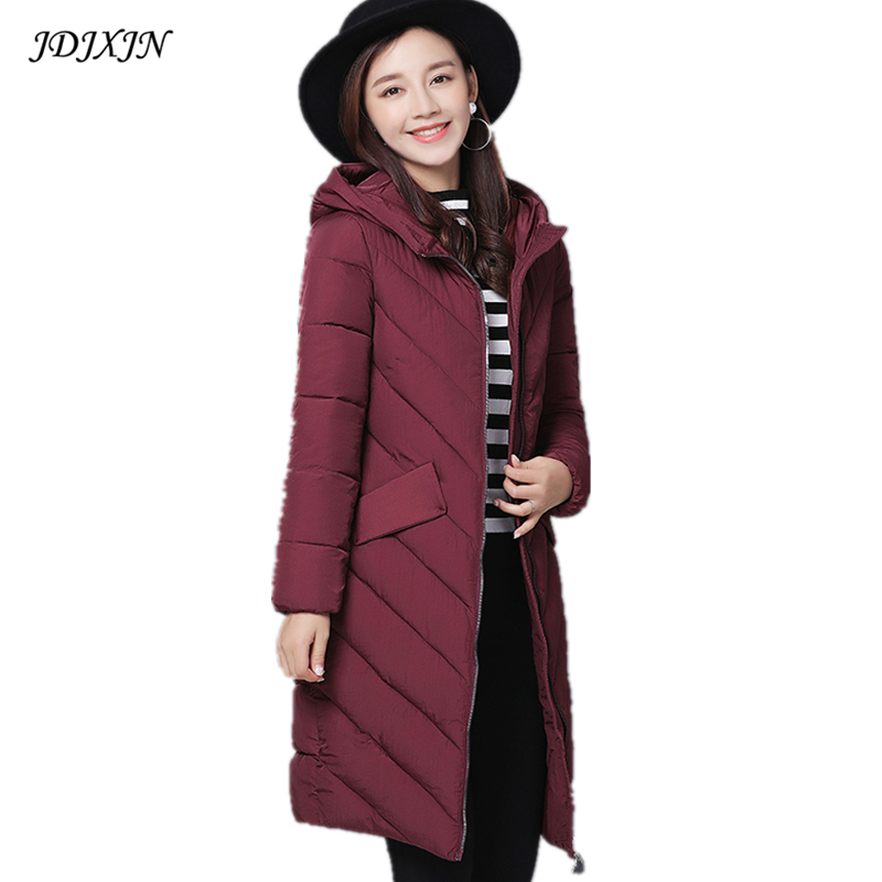 2017 women winter hooded long jacket female warm plus size 3XL cotton padded coat ladies outerwear parka solid chaqueta feminino