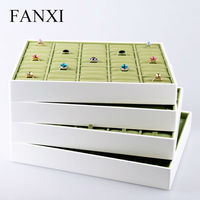 FANXI Free Shipping Wooden Jewelry Holder with White Lacquer and Green Velvet Insert Jewellery Necklace&Rings Display Trays