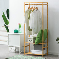 LK22 High Quality Storage Holder Eco Friendly Thicken Bamboo Cabinet Coat Hat Rack Hanger Portable Simple