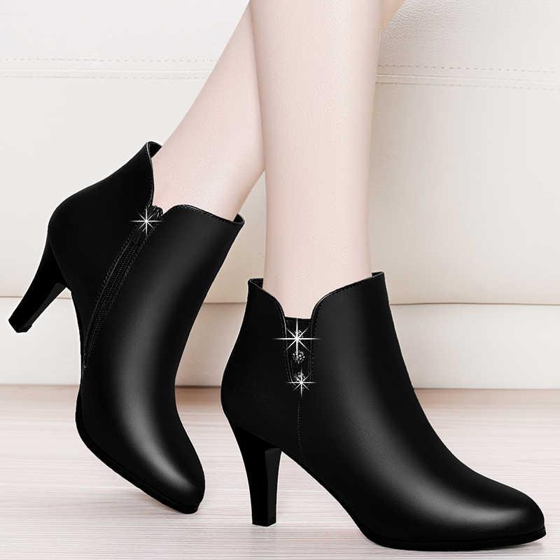 GKTINOO גבוהה העקב נשי אישה אופנה אלגנטית קרסול מגפי סתיו חורף עור מגפי אביב סקסי ליידי דק עקבים נעליים