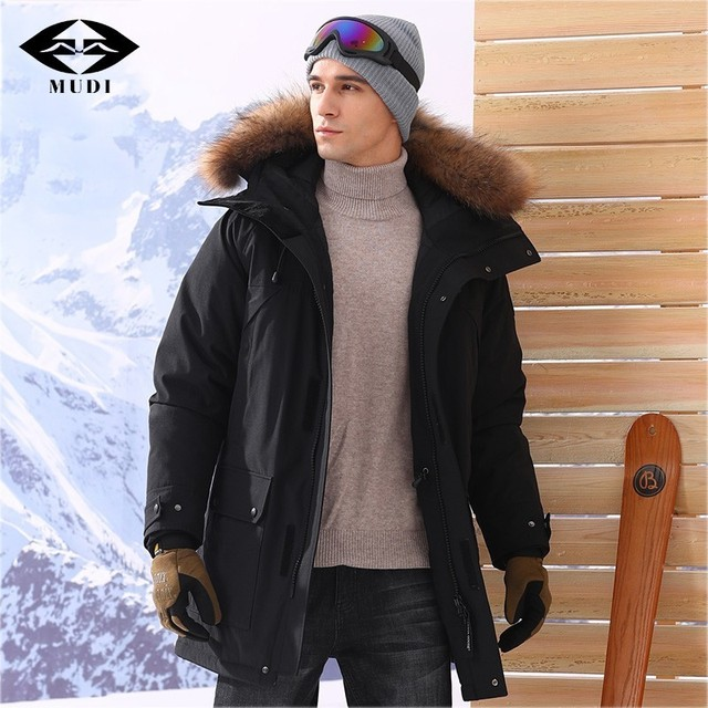 Mudi 90 Goose Down Coats Men Down Winter Jacket Mid Long Down Jacket Thick Warm Waterproof Outwear Long Parka With Natural Fur