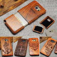 For Samsung Galaxy S4 mini S9 S7 S6 Edge Plus S8 7 Plus 7 100% Handmade Animals Plants Pattern Wood Bamboo Celular Cases