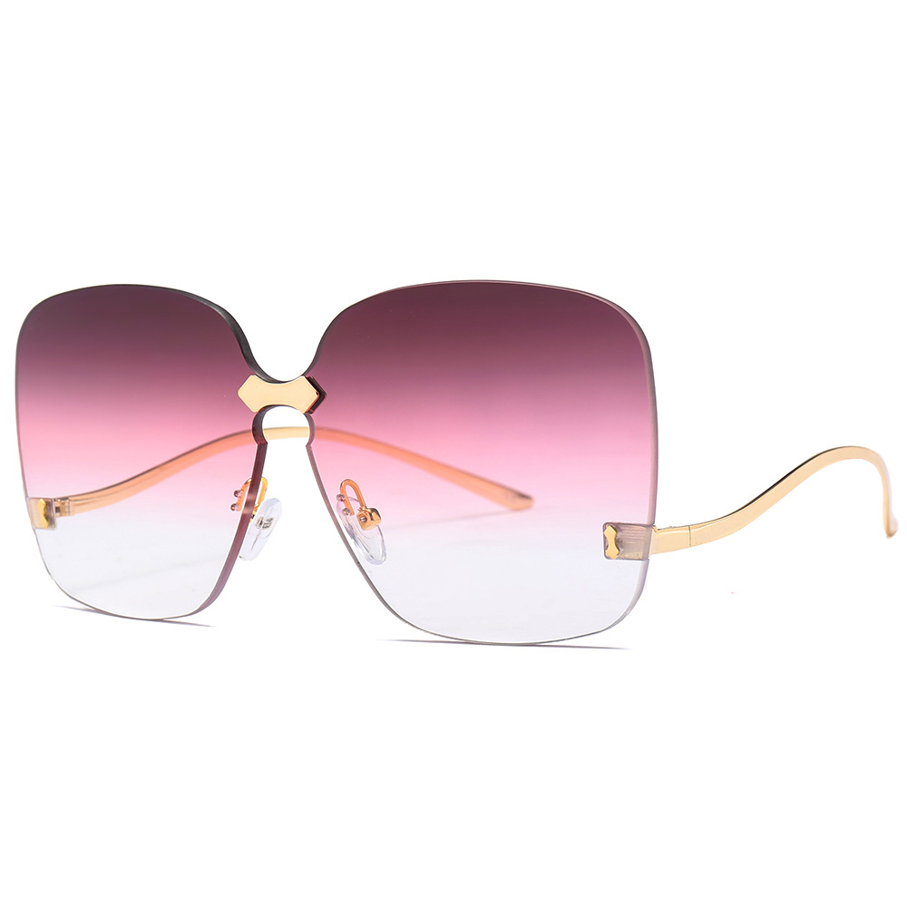 e34101fe09c Cubojue Oversized Women Sunglasses Rimless Sun Glasses for Woman Brand  Gradient Lens Punk Female Large Shades