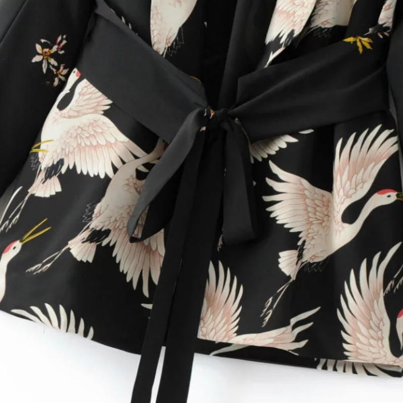 Fashion Women Red Crowned Crane printing Kimono style jacket Casual Long sleeve Coat Vintage Knotted belt Fashion Women Red Crowned Crane printing Kimono style jacket Casual Long sleeve Coat Vintage Knotted belt Loose Tops C215