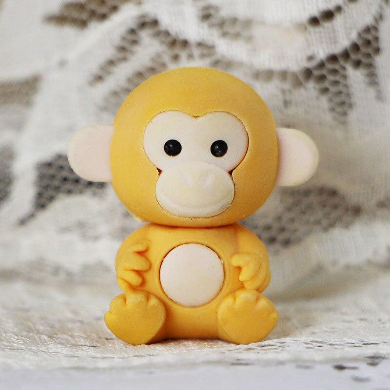 Купить с кэшбэком 1X Cartoon assemble eraser mini monkey modelling eraser children stationery gift prizes kawaii school office supplies papelaria