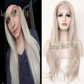 Soft Long Silver Platinum Blonde Lace Front Lace Wigs Synthetic Ash Blonde Straight Heat Resistant Fiber Wig For Fashion Women