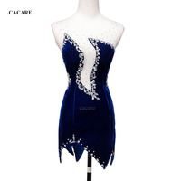 CACARE Latin Dance Dress Women Latin Dance Competition Dresses Fringed Salsa D0347 Velvet 4 Colors Rhinestones Irregular Hem