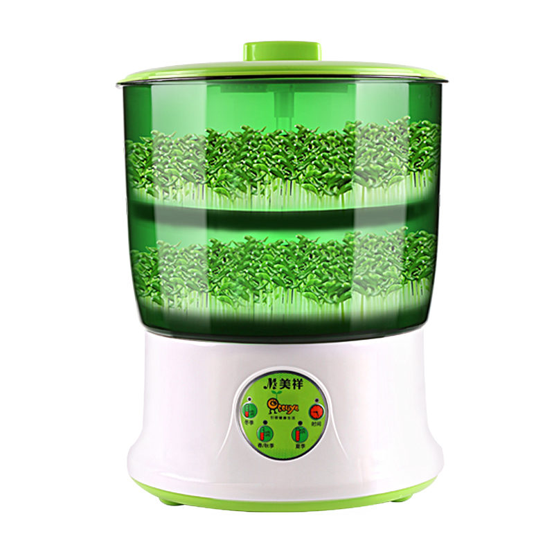 Fully Automatic Household Multifunction Intelligent High Capacity Double Layer Germination Bean Sprouts Machine White Special bean sprout machine germination intelligence home double layer nursery pots automatic bean sprouts machine kitchen electrical