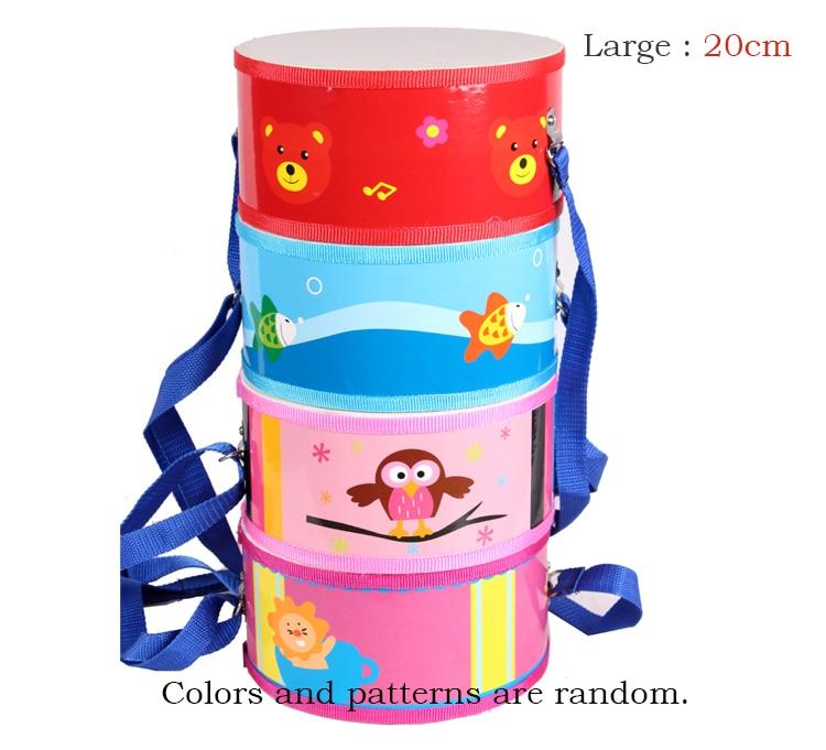 ФОТО Children's Wooden Marching Drum Animal Pattern Neck Strap & Drum Sticks