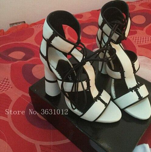 Здесь продается  2018 Hot Selling Black White Denim Purple Orange Patchwork Women Sandals Thick High Heels Lace Up Shoes Woman Ankle Strappy  Обувь
