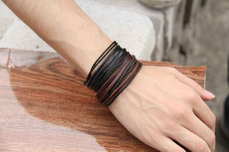 Gorąca sprzedaż Wrap skórzana bransoletka pleciona lina dla kobiet mężczyzn biżuteria bransoletka przyjaźni prezent szybka wysyłka XCJ024