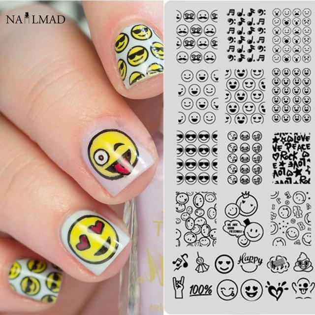 1pc Emoji Nail Stamping Plate Nail Art Stamping Image Plate ...