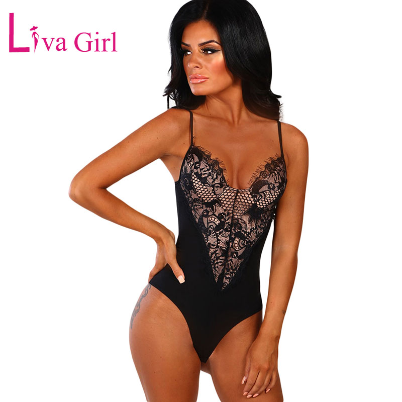 LIVA GIRL Black Sexy Sleeveless Lace Bodysuit For Woman 2019 Summer White Seduction Hammock Bodycon Bodysuits Female Body Tops