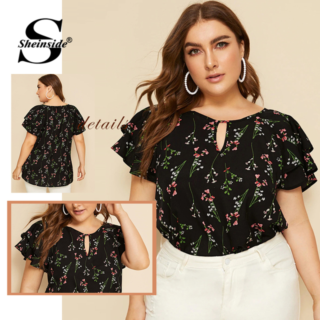 Sheinside Plus Size Casual Layered Sleeve Blouse Women 2019 Summer Elegant Floral Print Blouses Ladies Front Keyhole Detail Top 5
