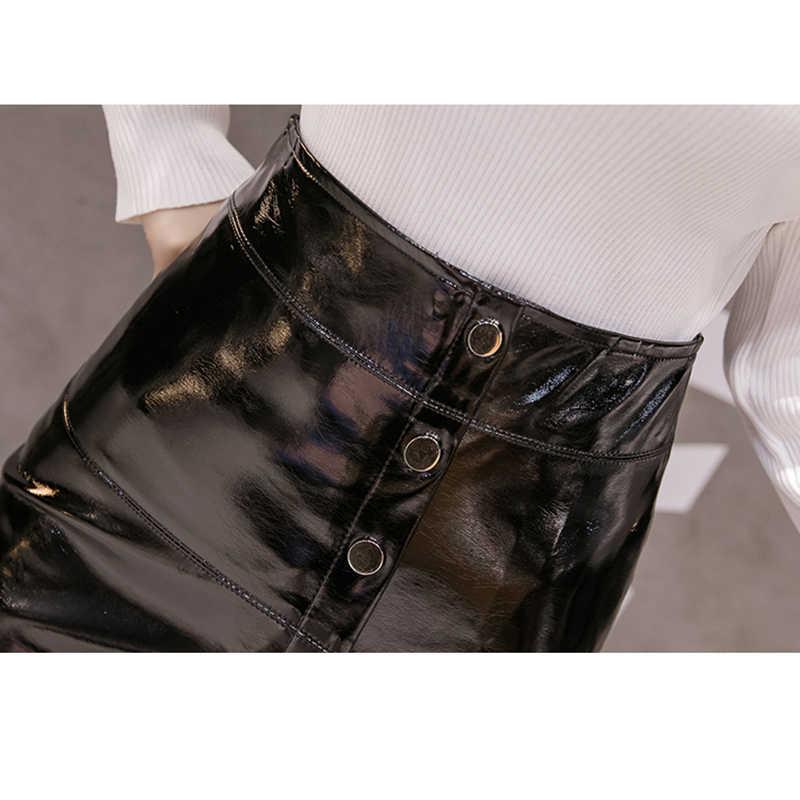 3c57a72a3aa12a 2018 automne hiver bouton jupe crayon Streetwear taille haute Sexy PU Faux  cuir jupes femmes grande taille noir Midi jupe Saias