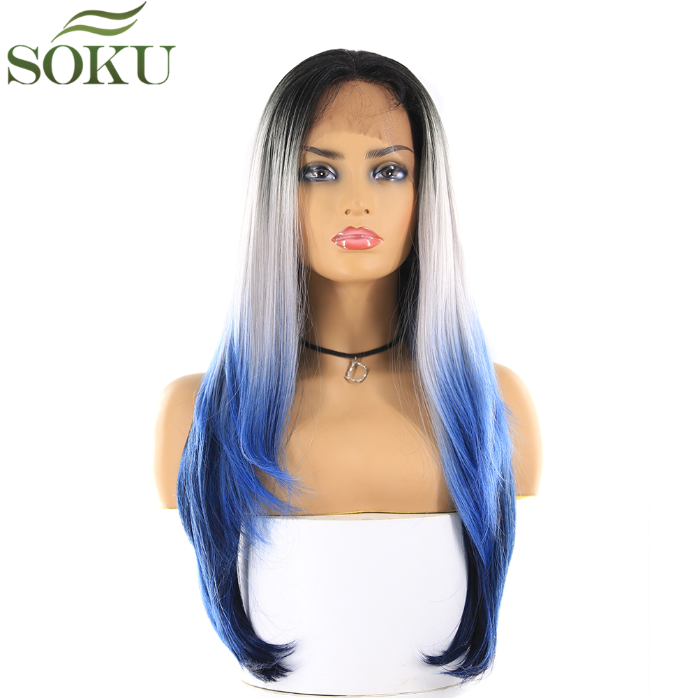 Dark Root Grey Blue Color Synthetic Lace Front Wigs SOKU 13*4 Lace Frontal 26 Inch Straight Free Part 150% Density Wig For Women