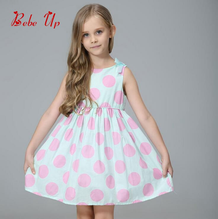 Kids Girls Baby O-Neck Sleeveless Summer Bow Tied Dress New Arrival Button Children Polka Dot Clothing Toddler Princess Clothes