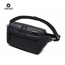 цена на OZUKO Men Male Casual Fanny Pack Waterproof Travel Waist Bags Money Phone Belt Bag Running Sport Fashion Shoulder Belt Bag Bolso