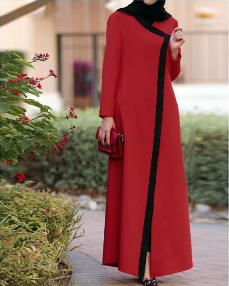 2018 With belt hit color stitching muslim abaya Robe Musulmane Abaya Muslim  Dress Cardigan Robes prayer Worship Service Wj2259-in Islamic Clothing from  ... f71c3d0bbecf