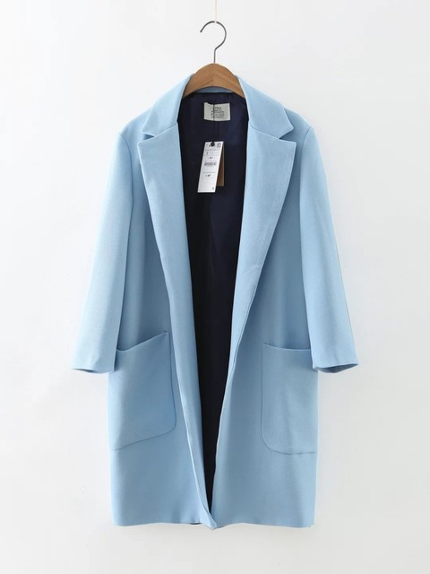 2016 New Women Autumn Fashion European Style Blue Pockets Open Stitch Trench Coats Turn-down Collar Casual Brand Female