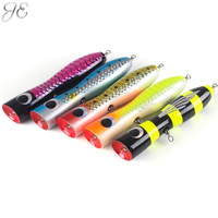 100g JE Topwater Wooden Poppers GT Surface Popping Lures Deep Sea Handmade Fishing Baits For Open